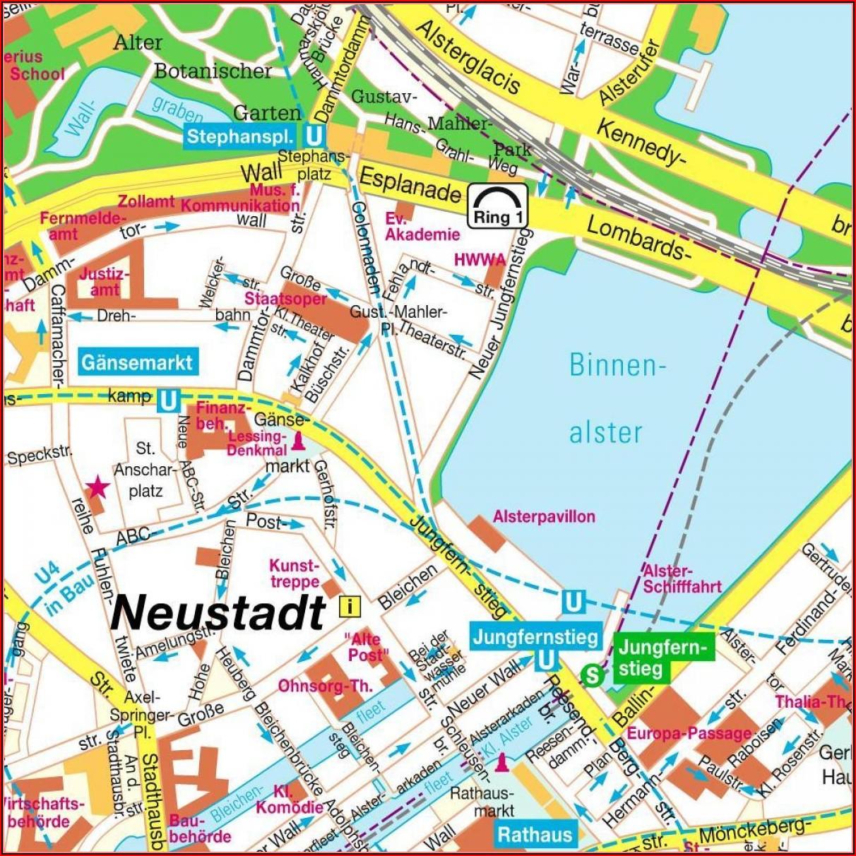Map Of Hamburg City Centre Germany