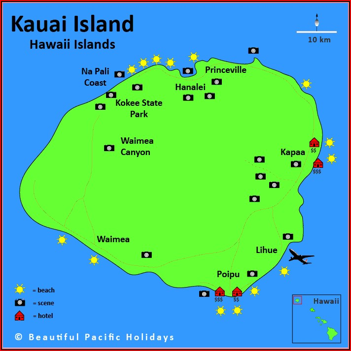 Map Of Hawaiian Islands Kauai
