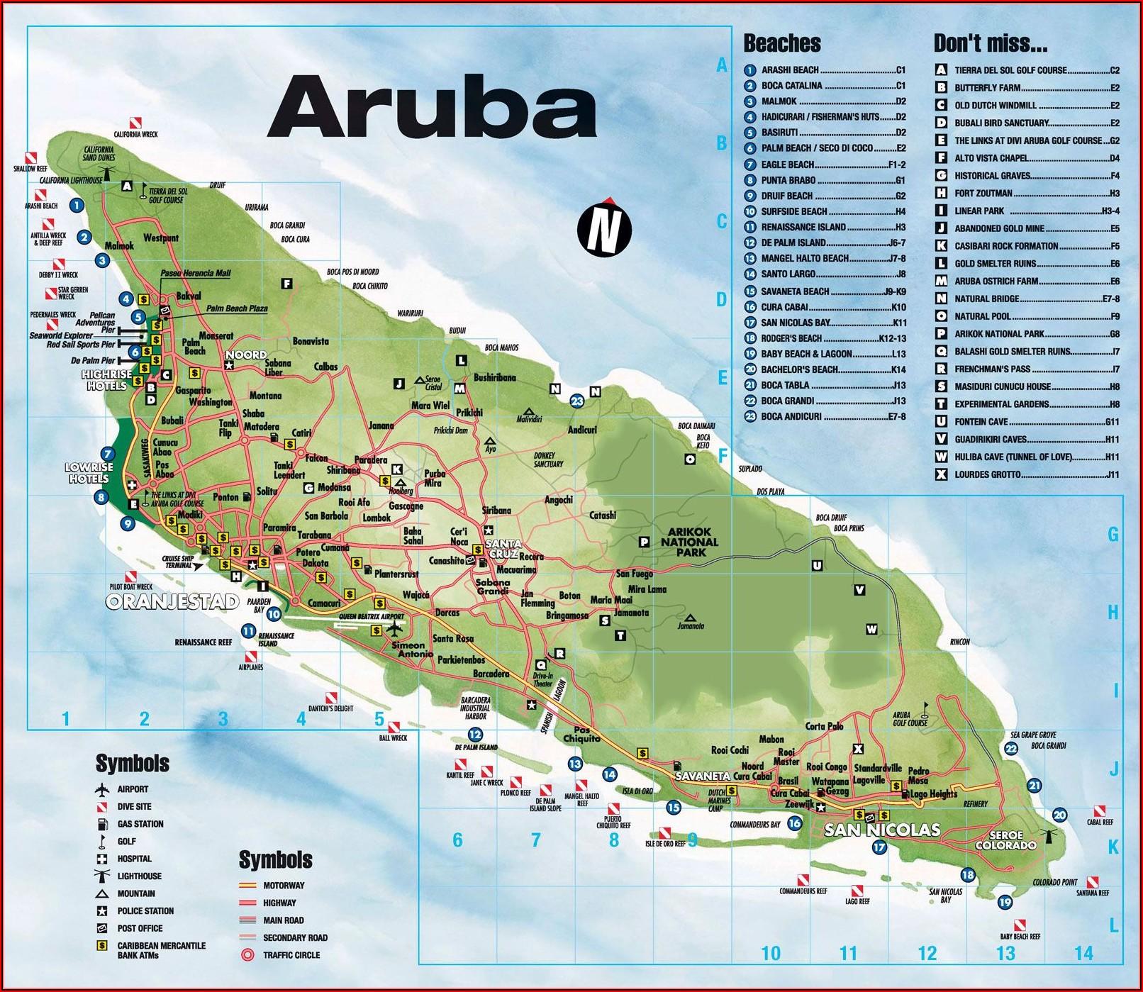 Map Of Hotels Along Palm Beach Aruba