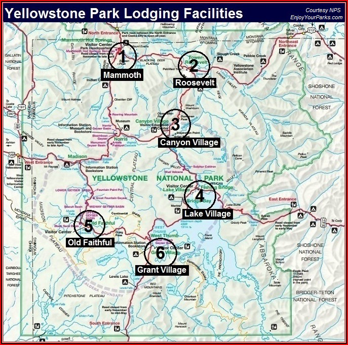 Map Of Hotels And Lodges In Yellowstone National Park