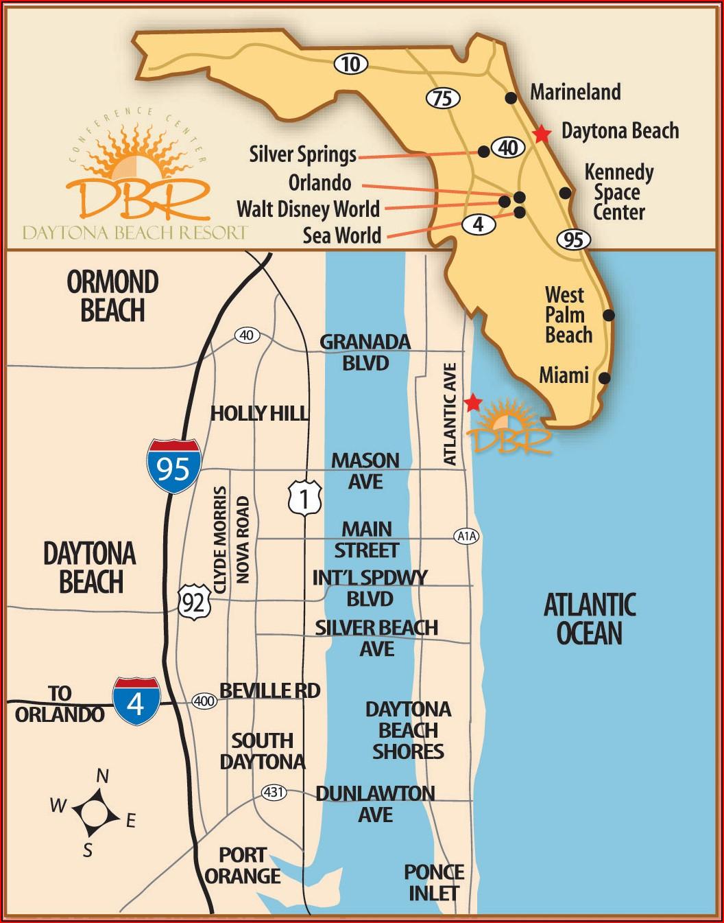Map Of Hotels In Daytona Beach Florida