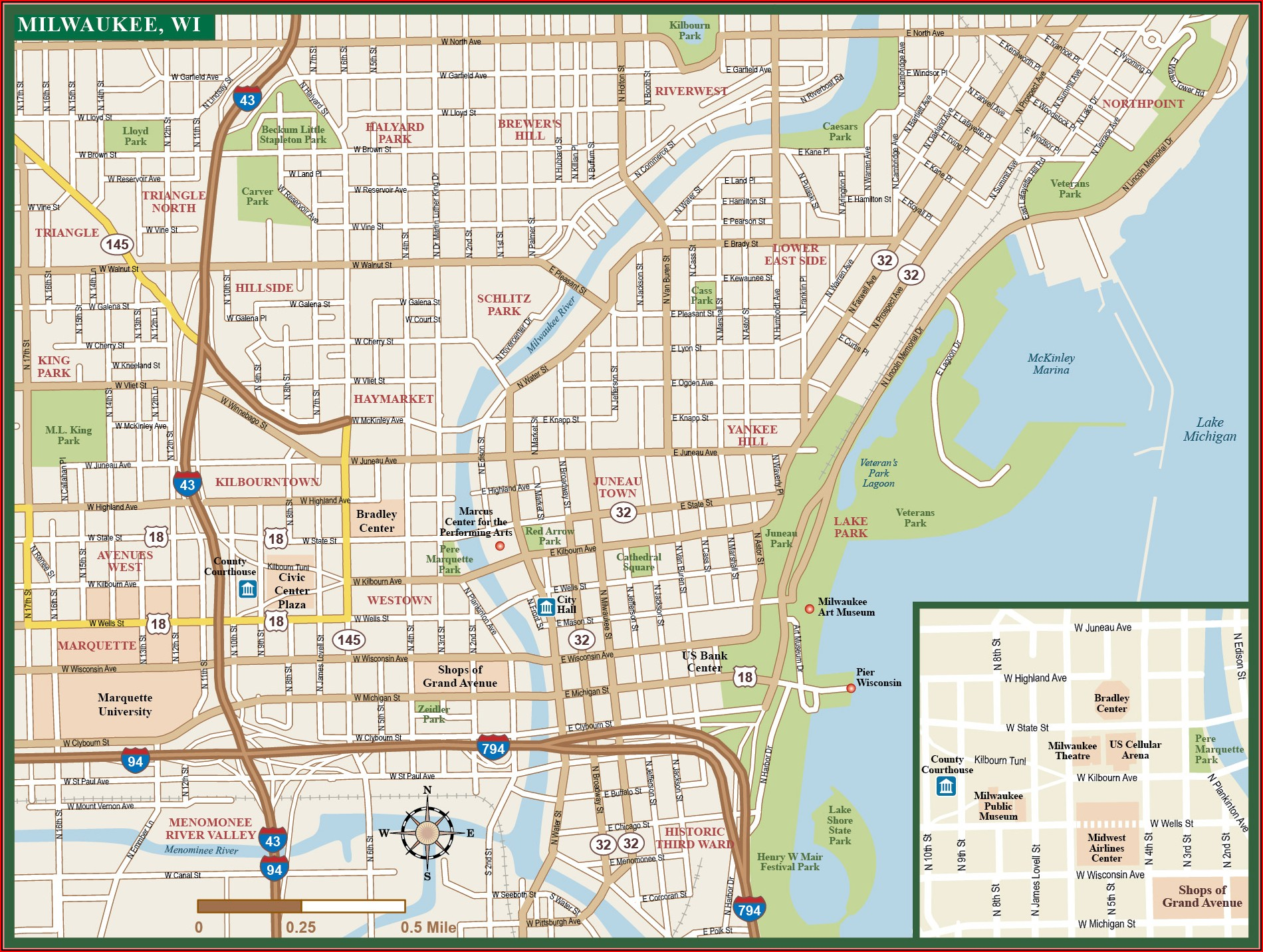 Map Of Hotels In Downtown Milwaukee Wi