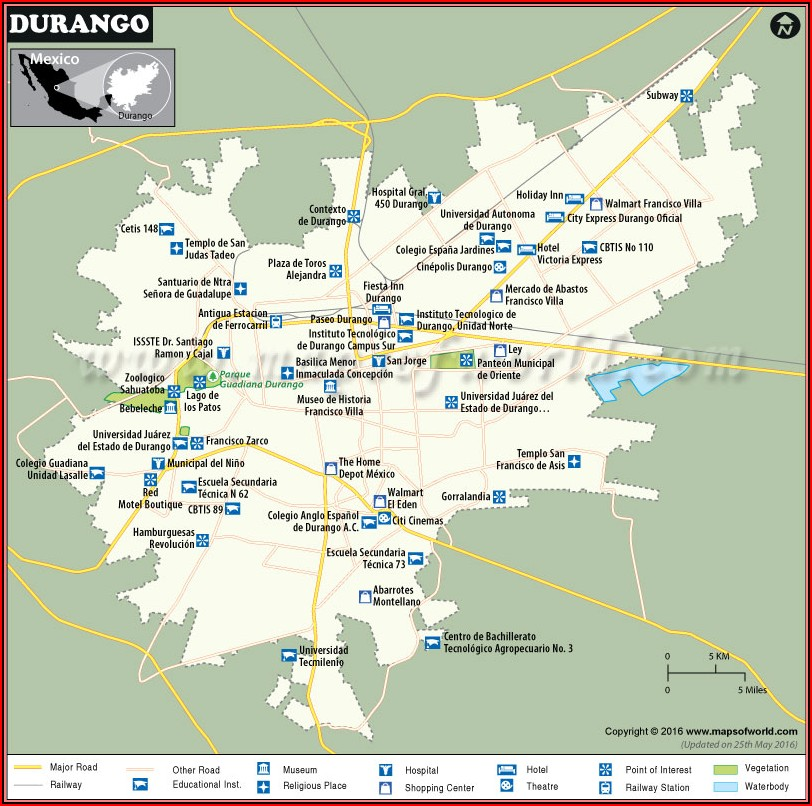 Map Of Hotels In Durango Colorado