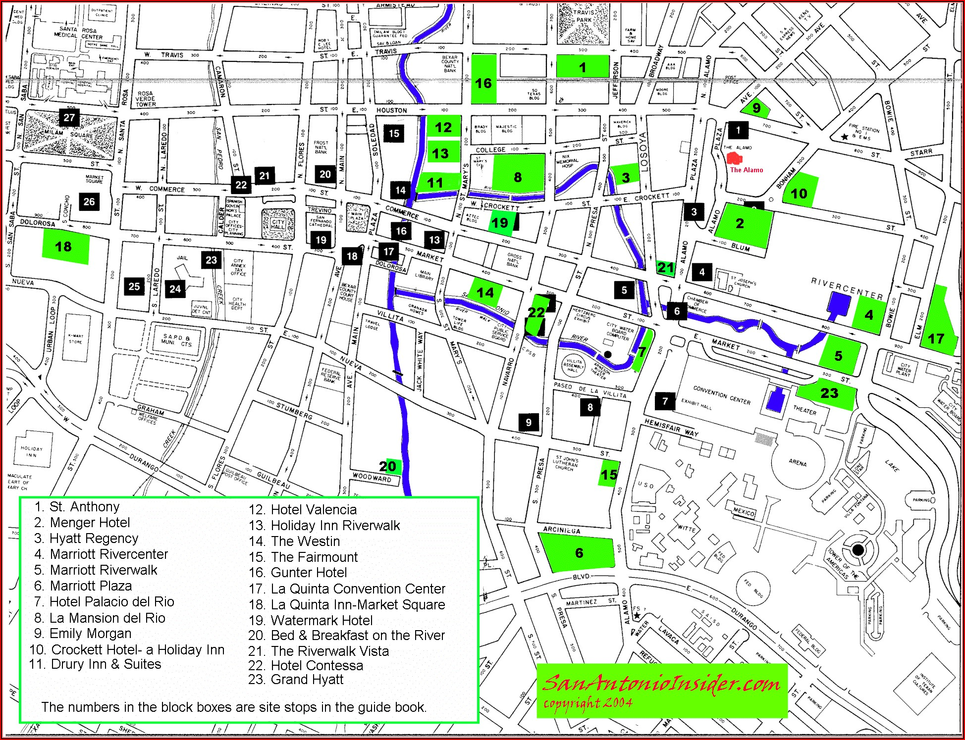 Map Of Hotels Near Riverwalk San Antonio Tx