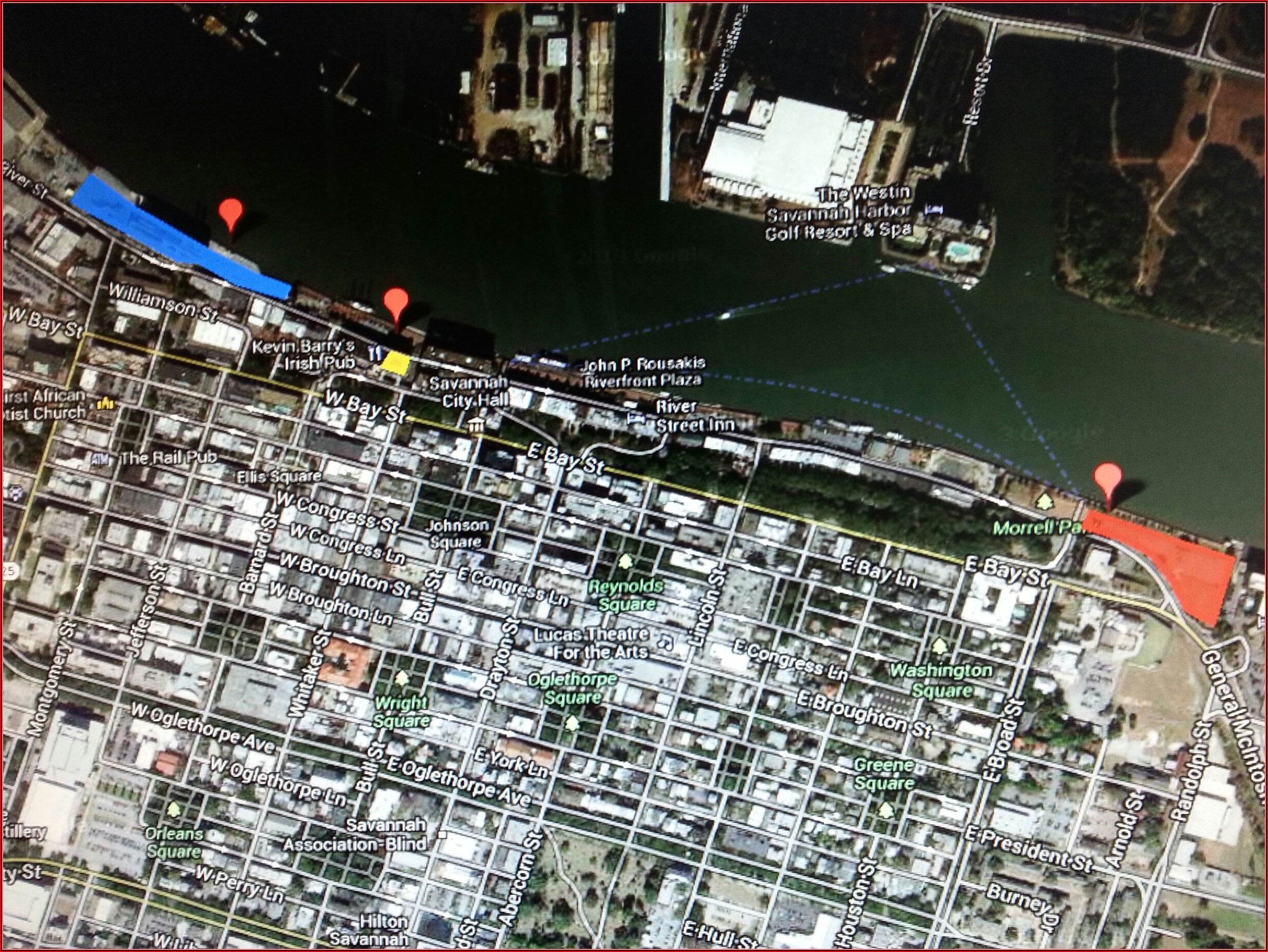 Map Of Hotels On River Street Savannah Ga
