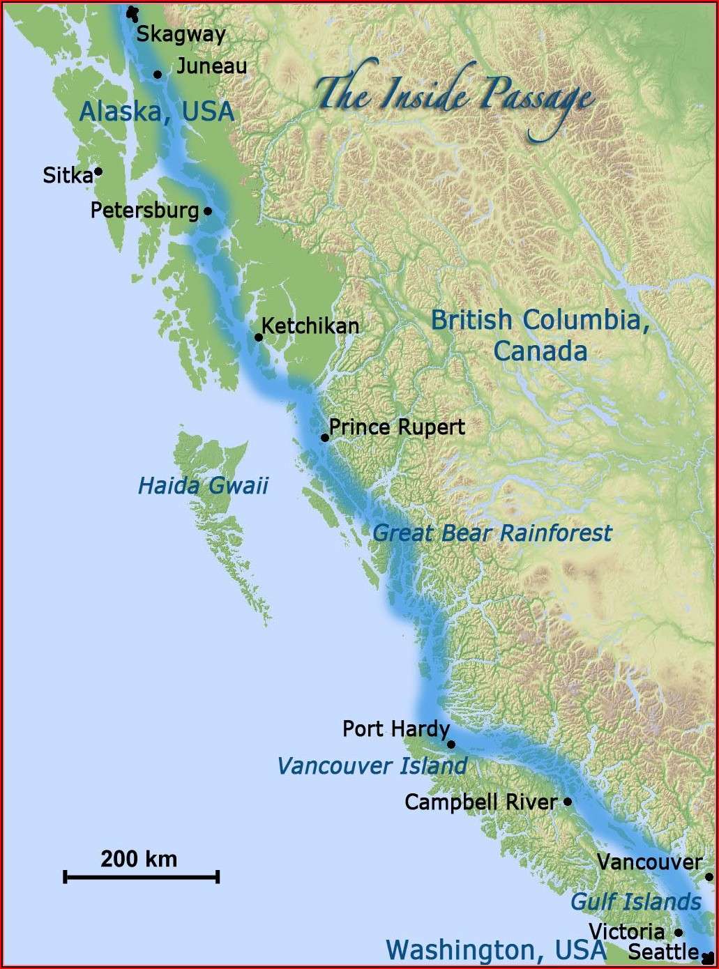 Map Of Inside Passage Canada