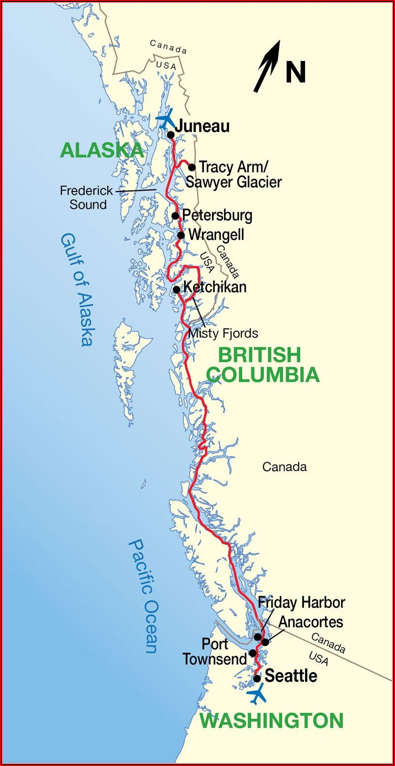 Map Of Inside Passage Cruise Route