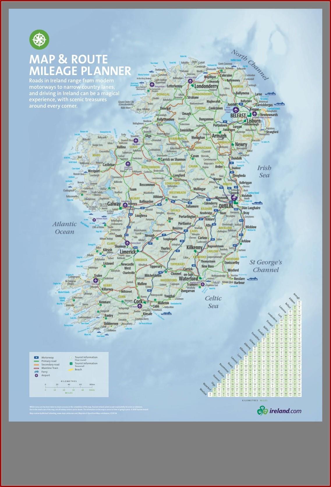 Map Of Ireland Travel Distances