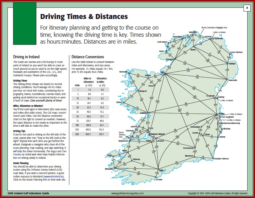 Map Of Ireland With Travel Times