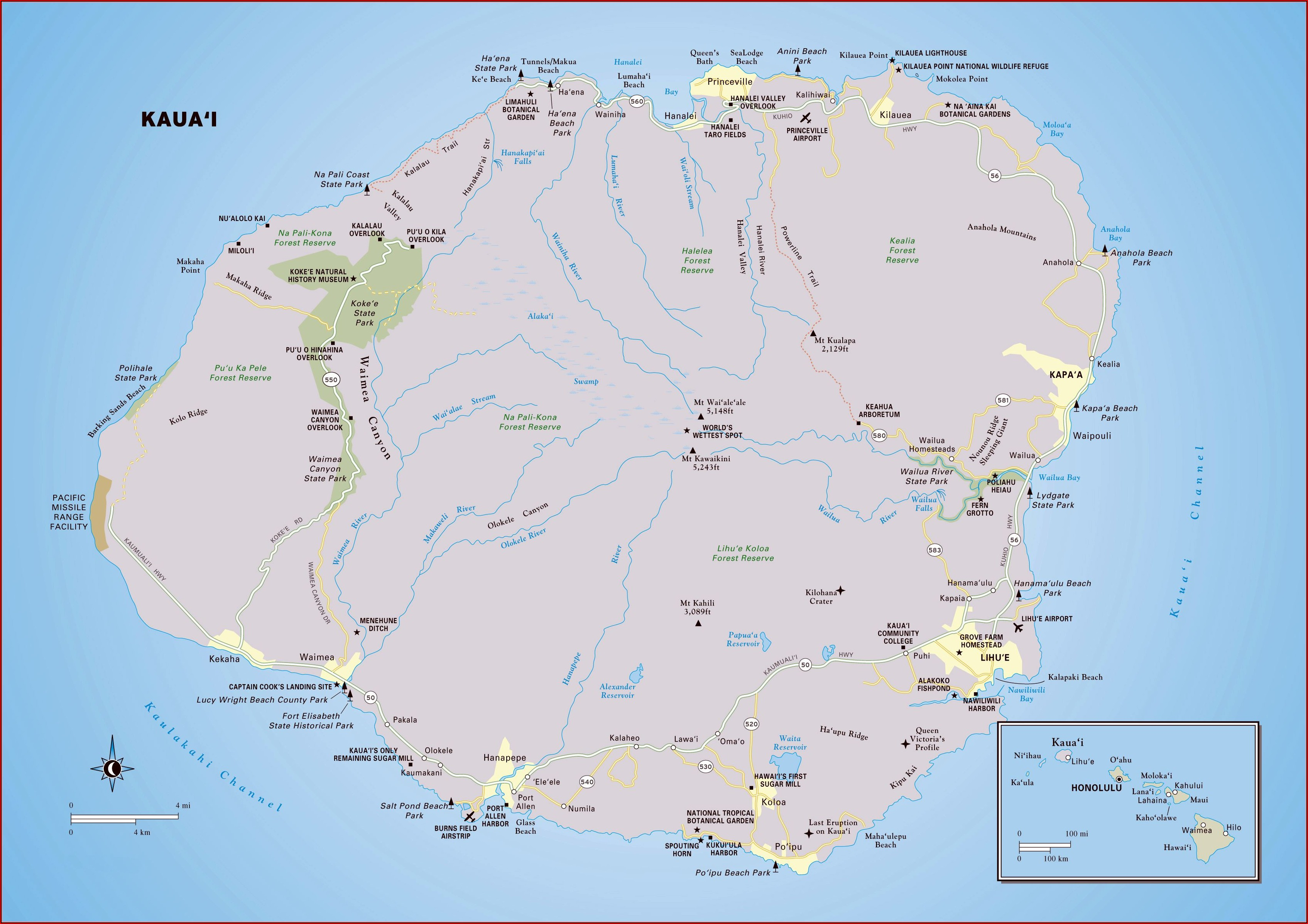 Map Of Kauai Island Beaches