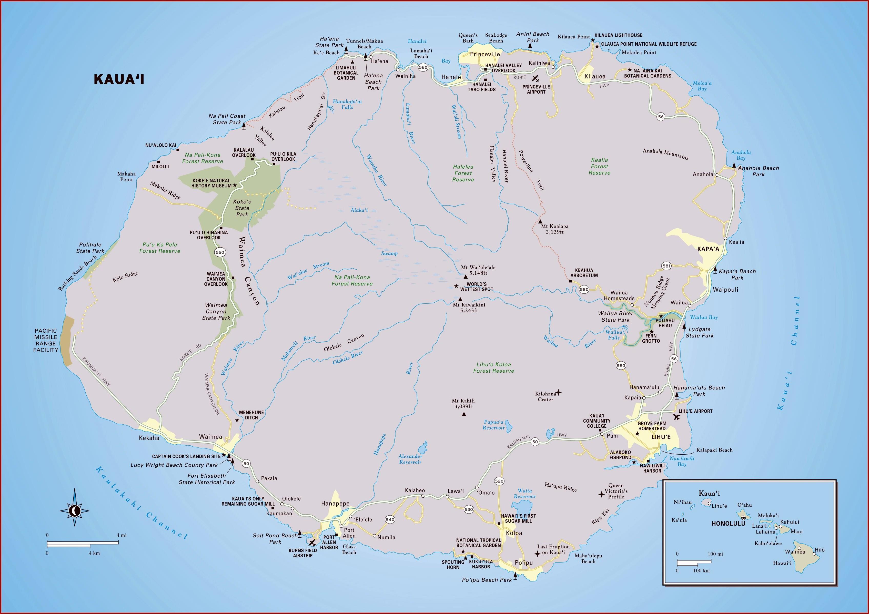Map Of Kauai Island Beaches