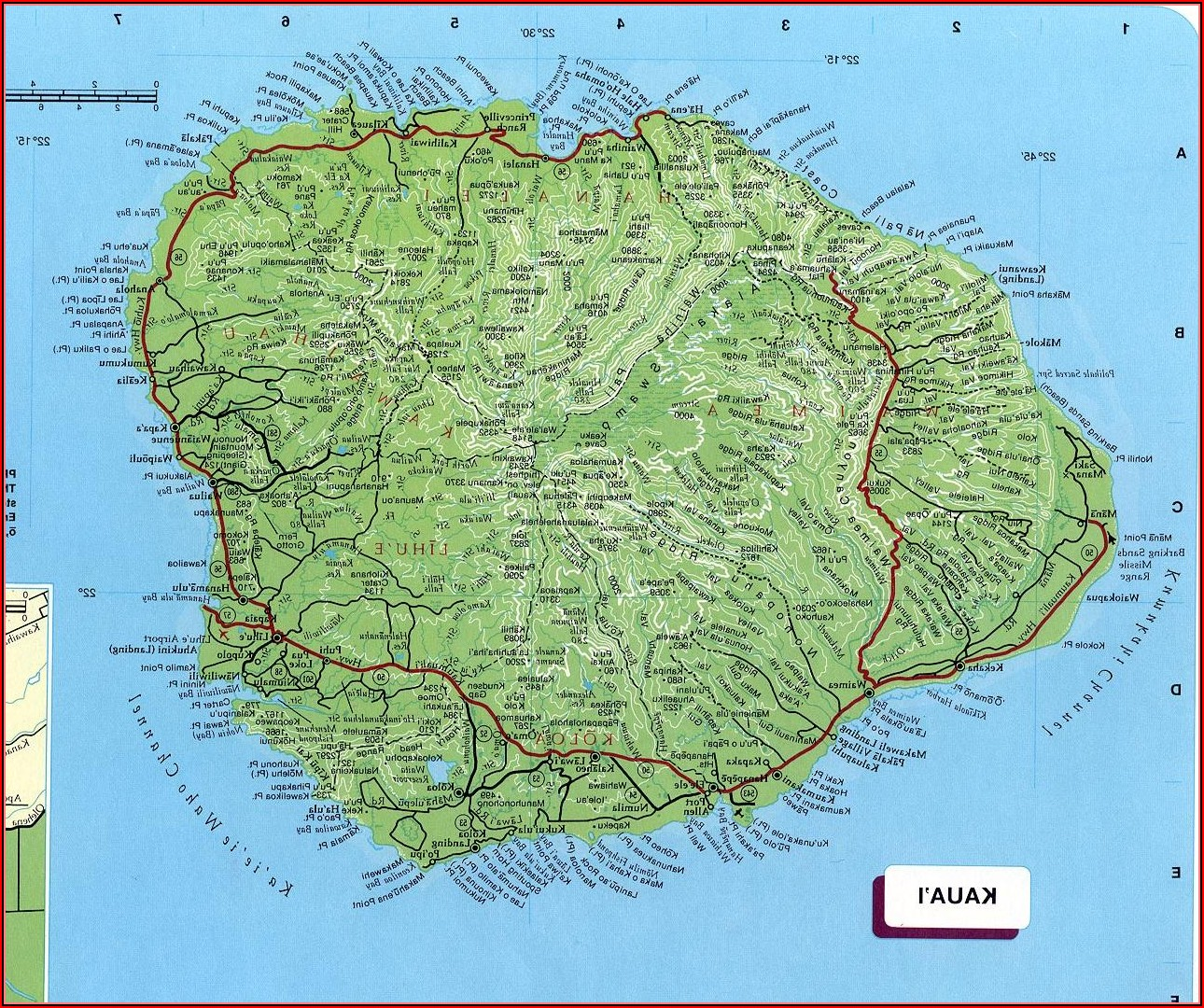 Map Of Kauai Island