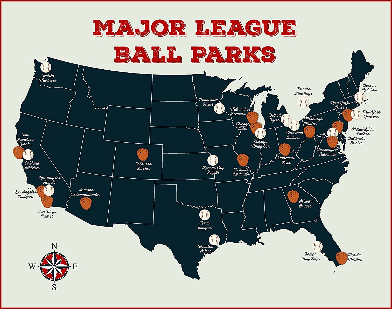 Map Of Major League Baseball Stadiums In The Us
