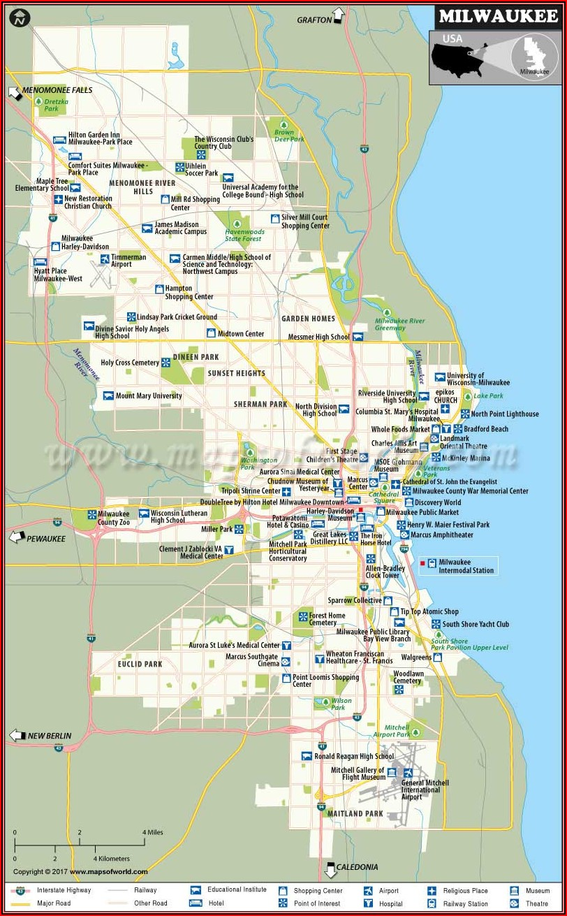 Map Of Milwaukee Hotels