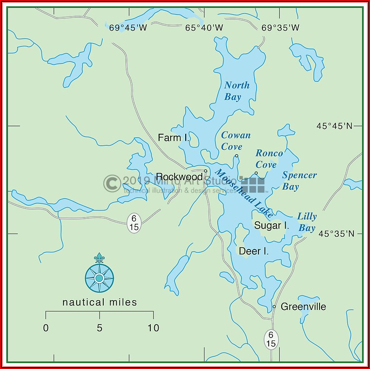 Map Of Moosehead Lake Greenville Maine