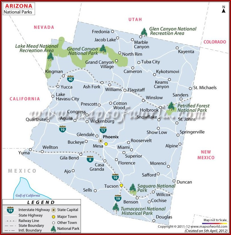Map Of National Parks And Monuments In Arizona