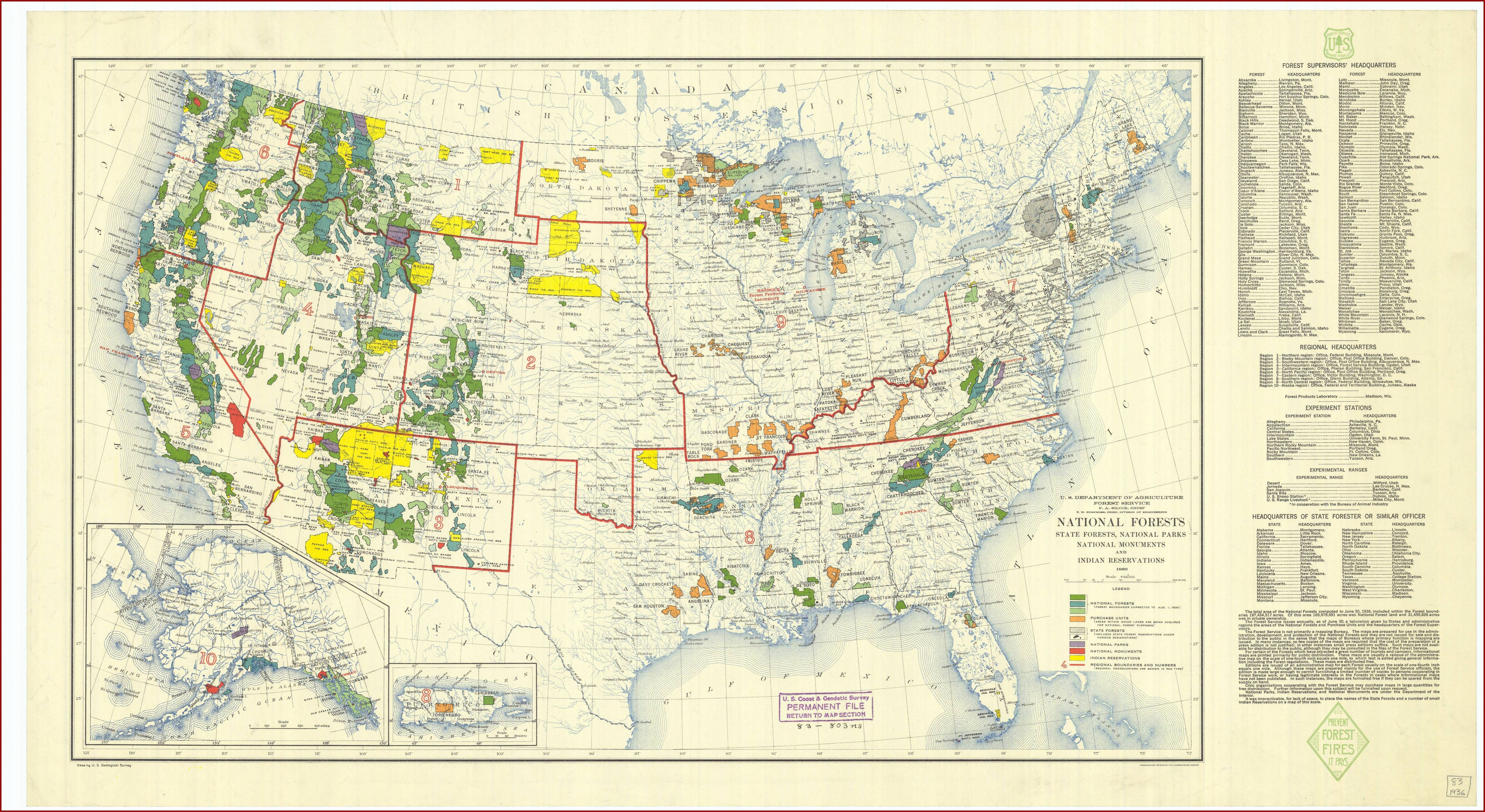 Map Of National Parks Monuments And Forests