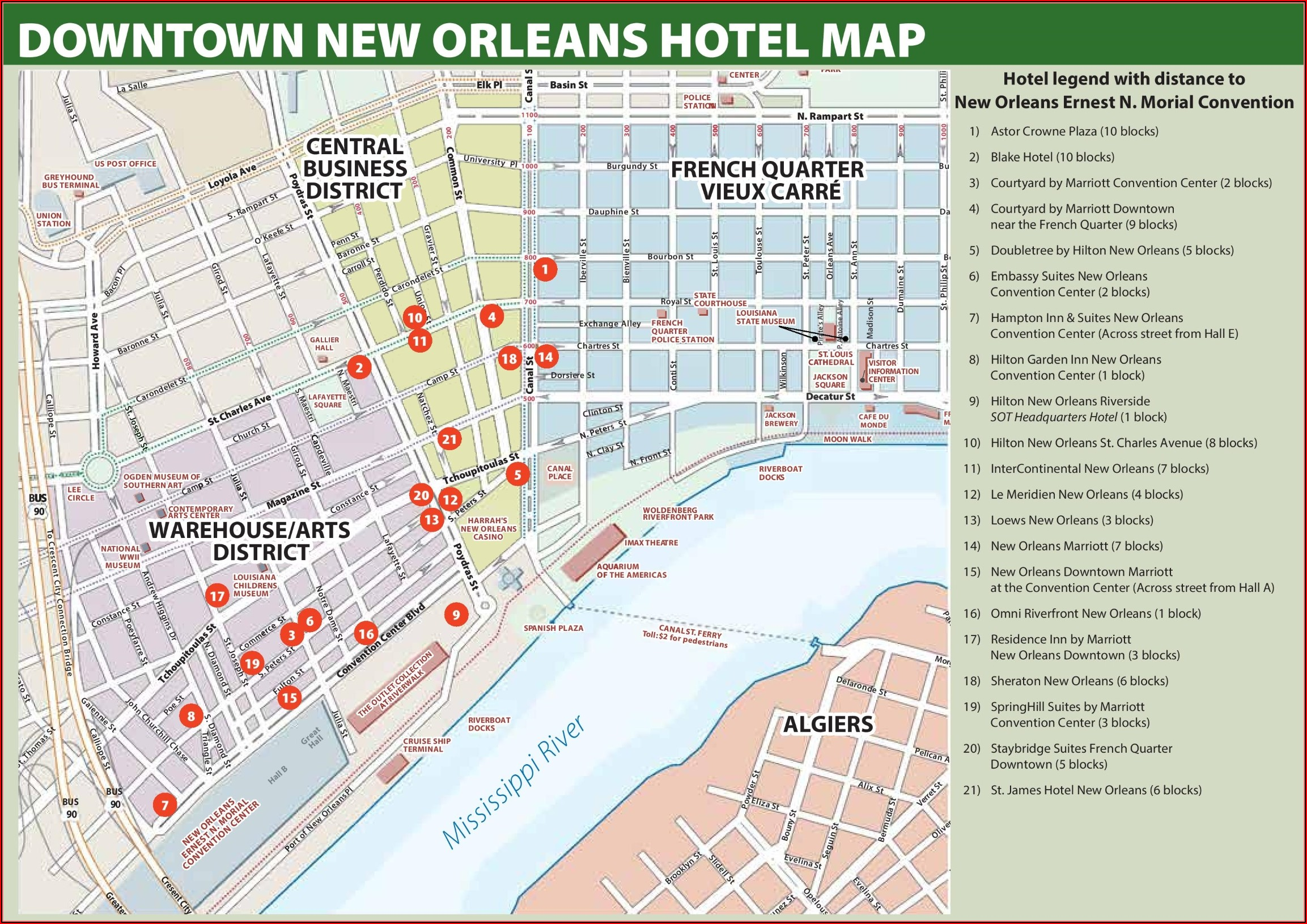 Map Of New Orleans French Quarter Hotels