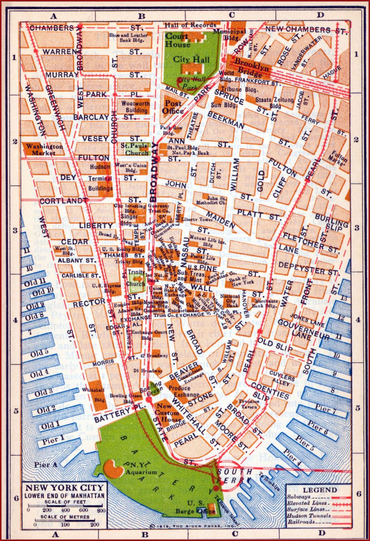 Map Of New York City Lower Manhattan