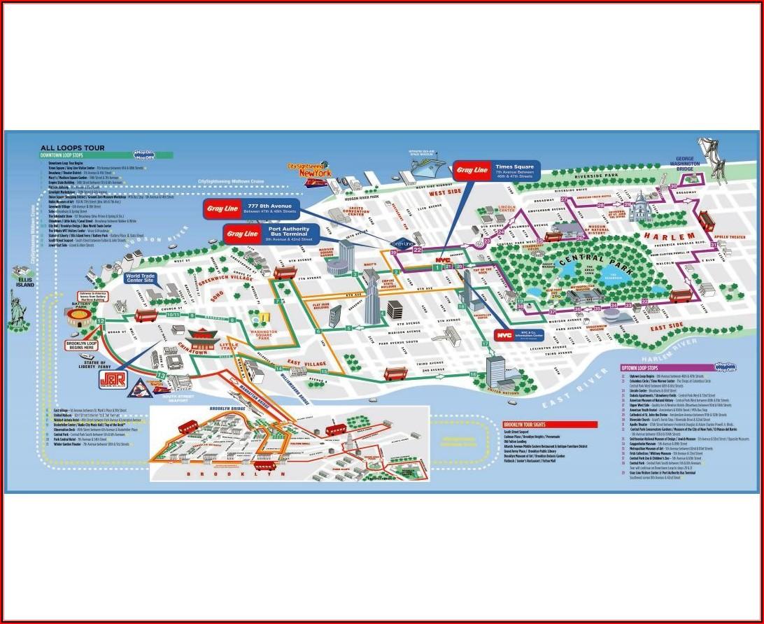 Map Of New York City Manhattan Attractions