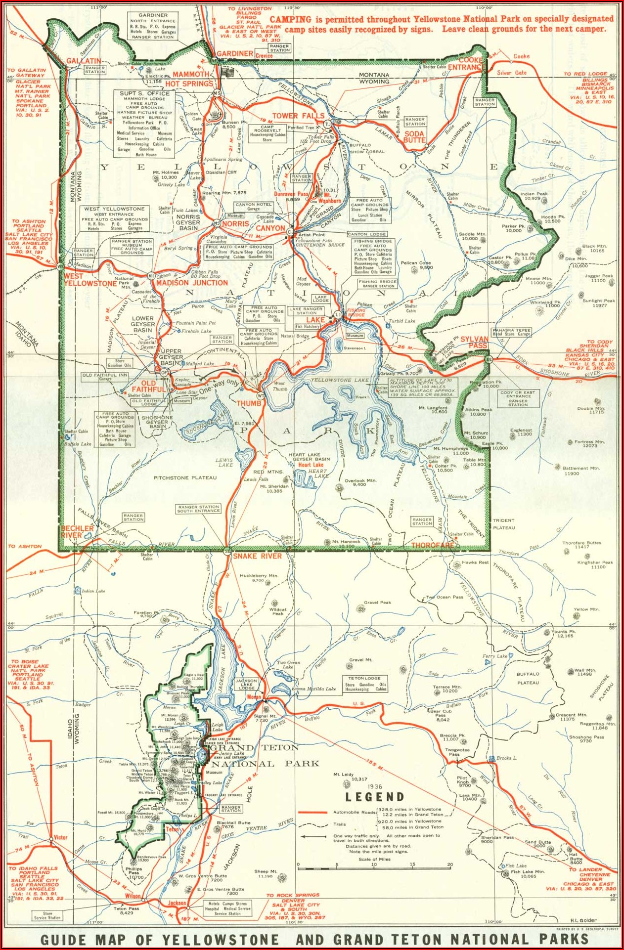 Map Of Tetons And Yellowstone