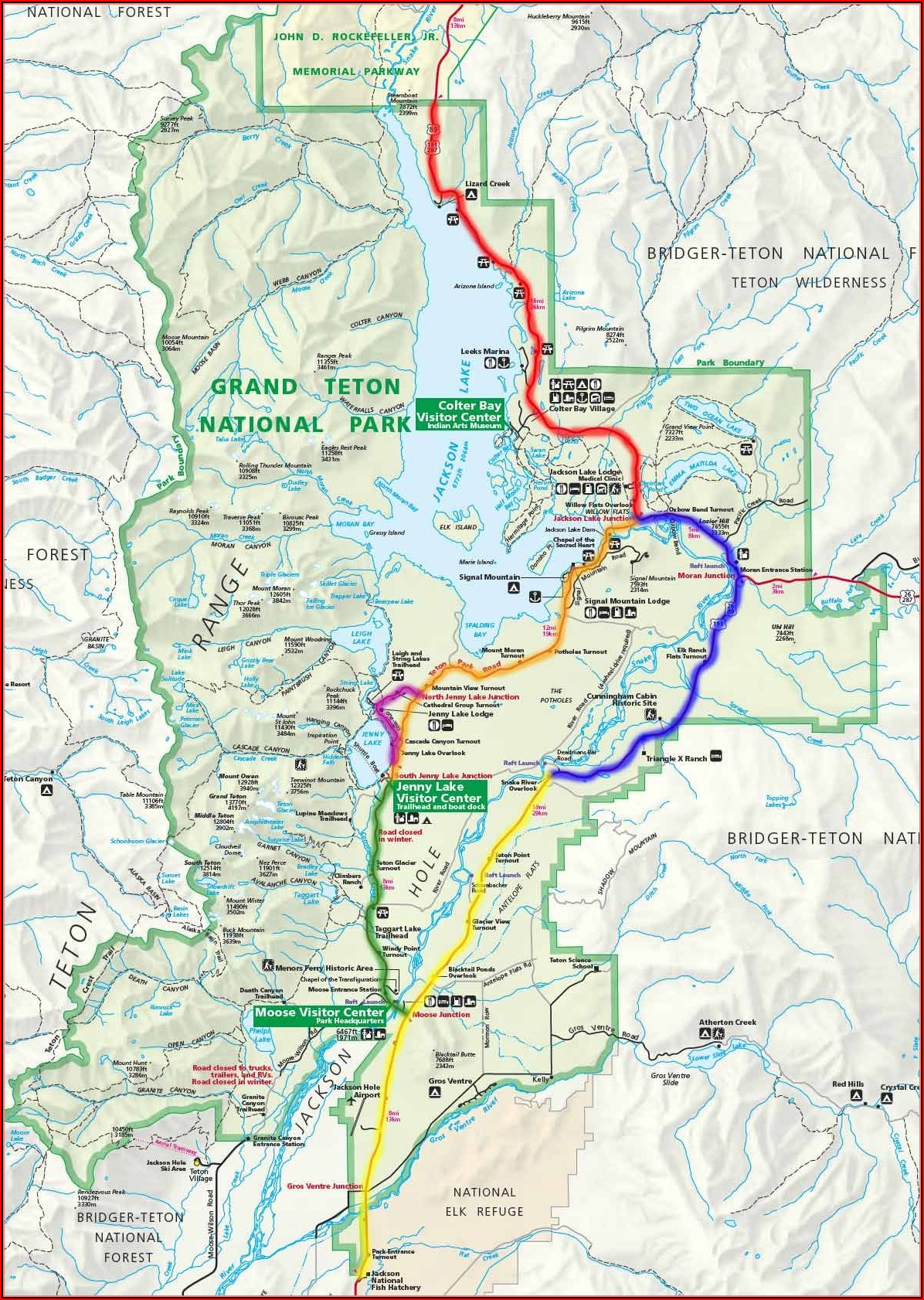 Map Of The Grand Tetons