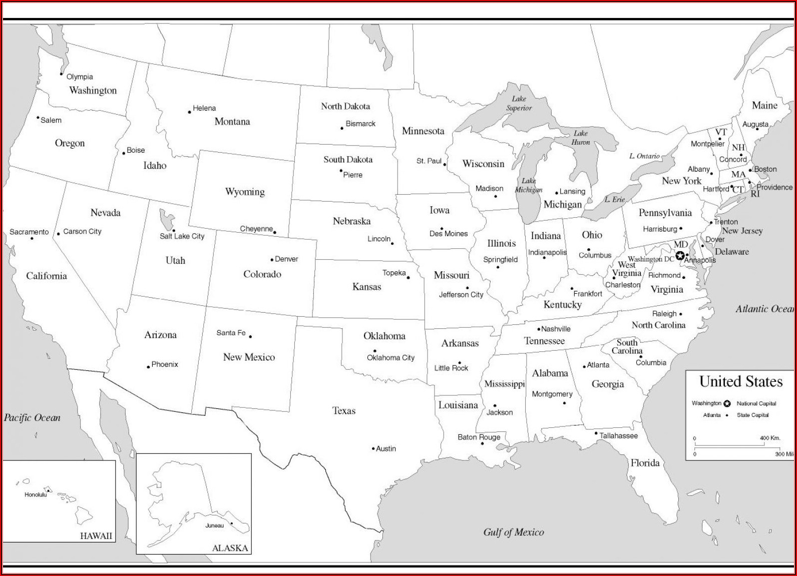 Map Of The Us States And Capitals Quiz