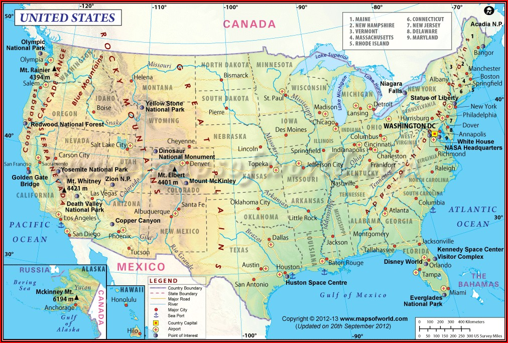 Map Of Usa With States And Capitals And Major Cities Pdf