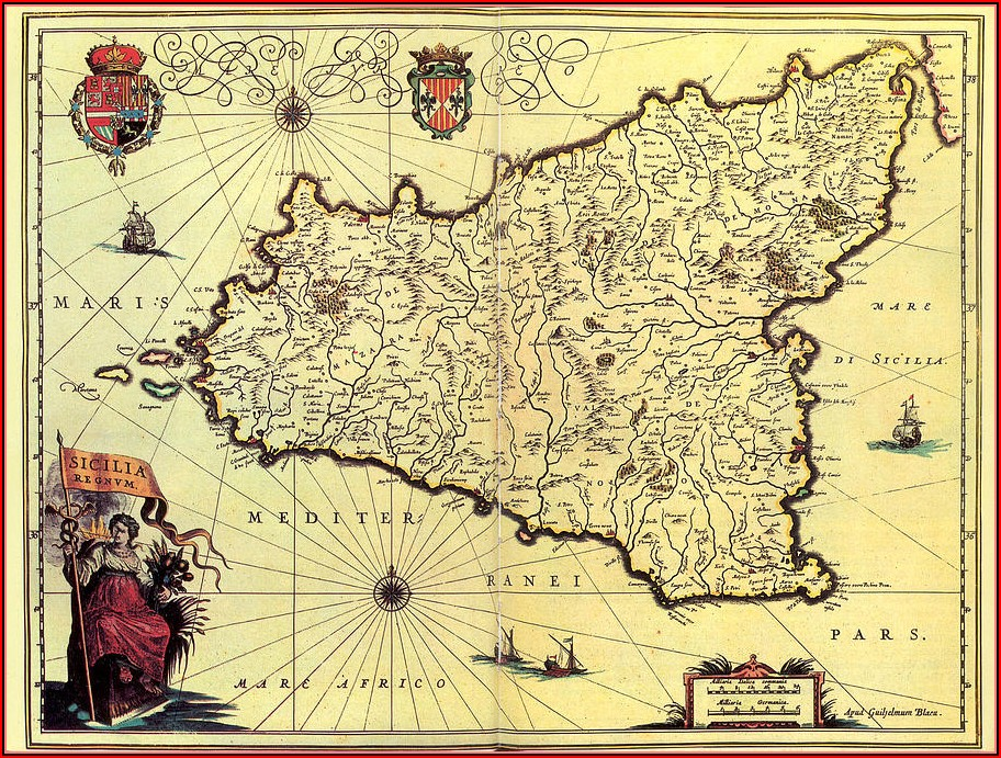 Maps Of Sicily For Sale