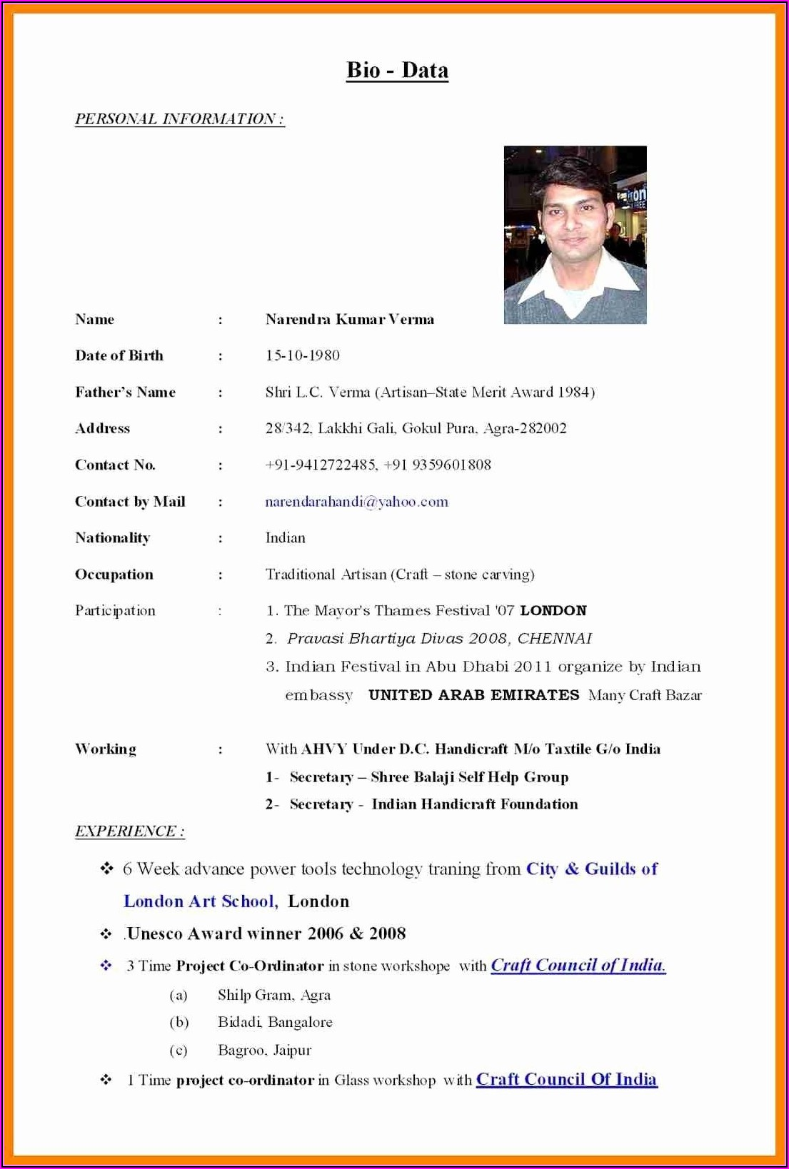 Marriage Resume Format For Boy Pdf