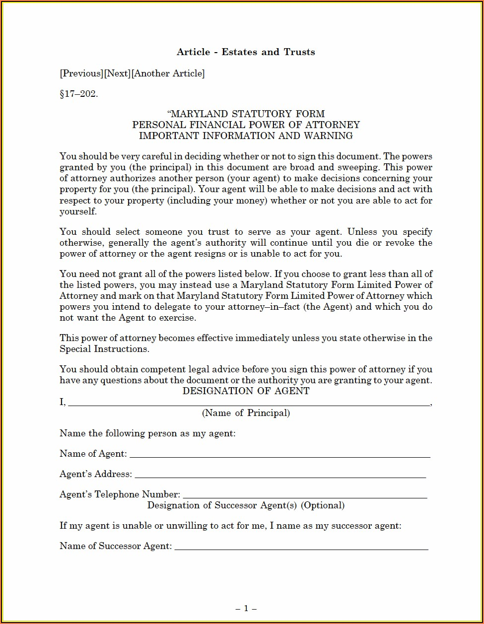 Maryland Durable Power Of Attorney Form Free