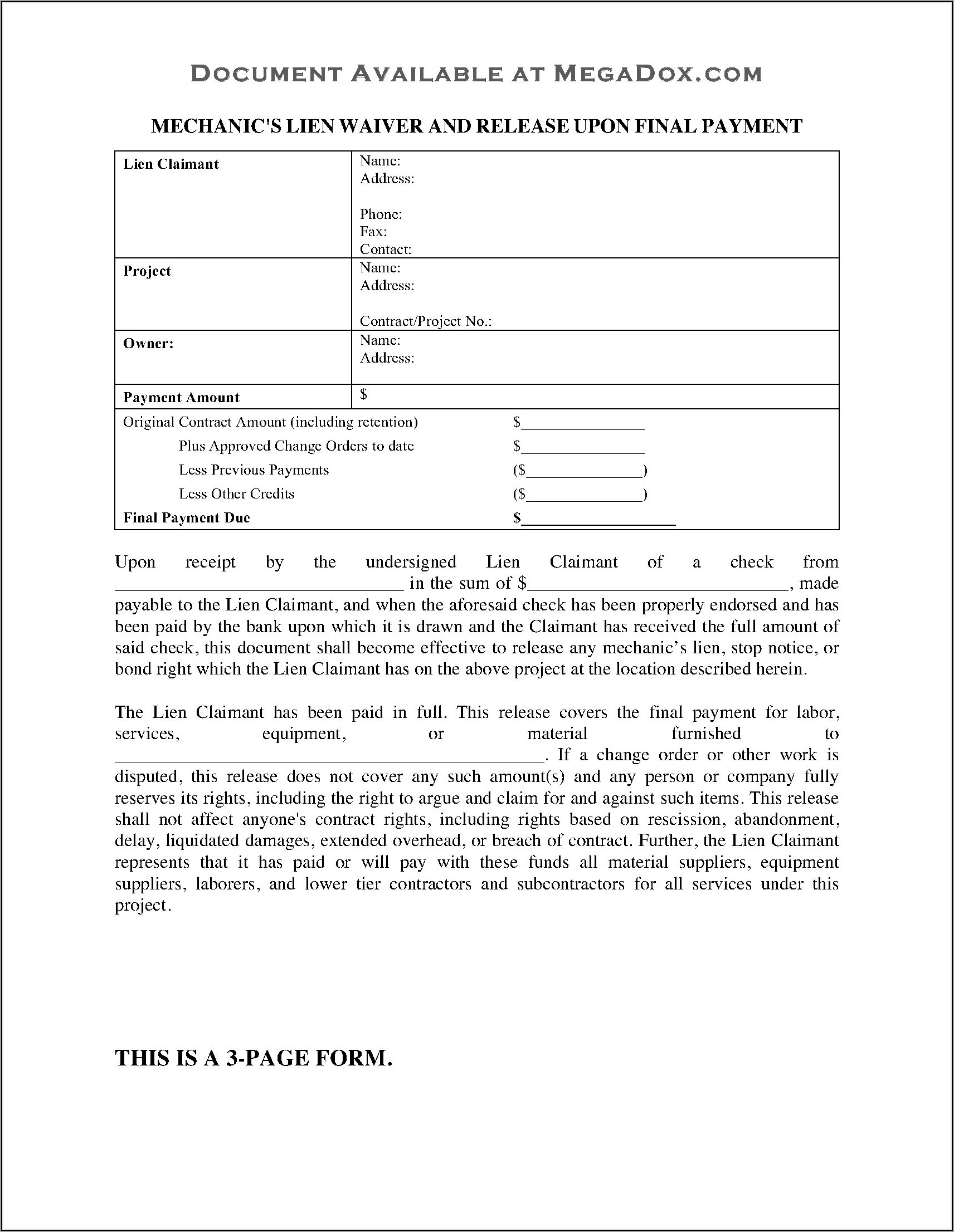 Massachusetts Mechanic's Lien Waiver Form
