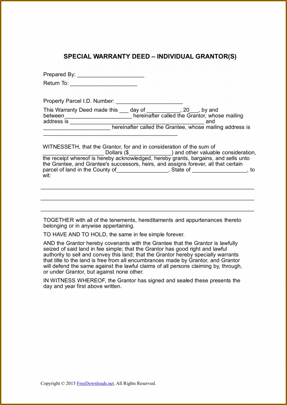 Michigan Warranty Deed Statutory Form