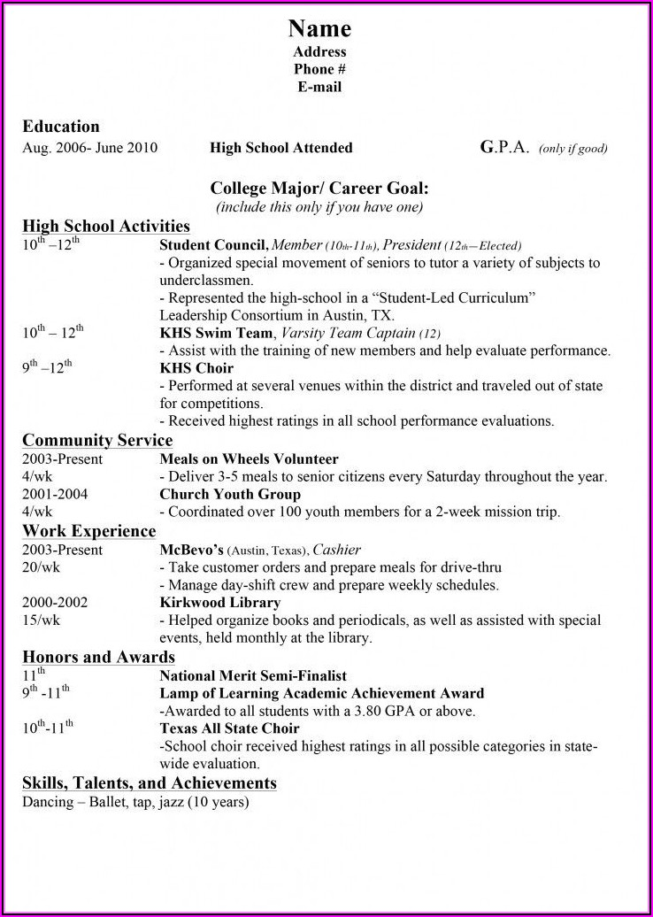 Middle School Resume Builder