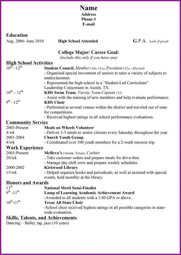 Middle School Resume Builder