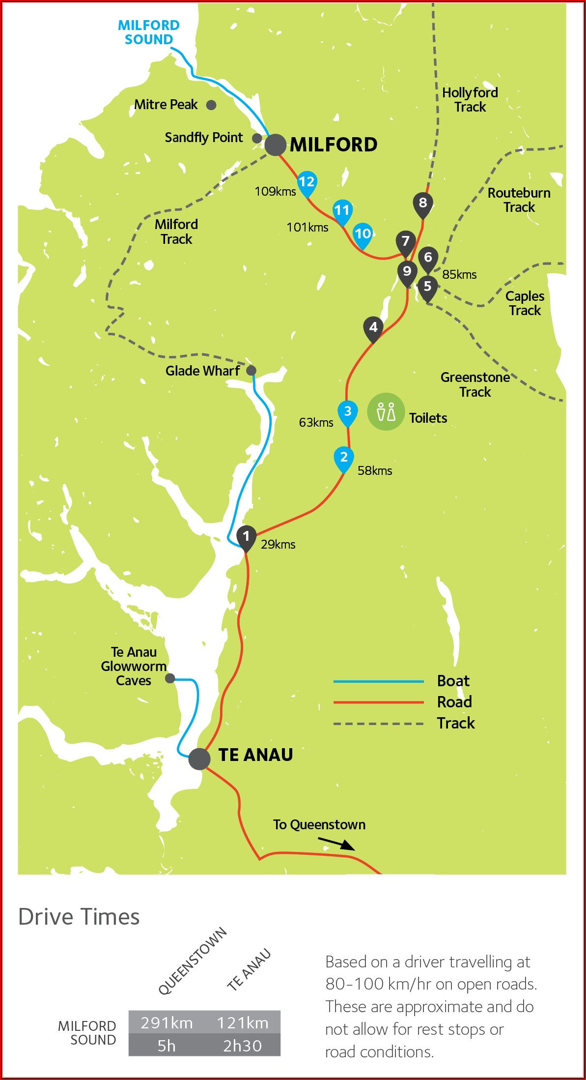 Milford Sound Trek Map