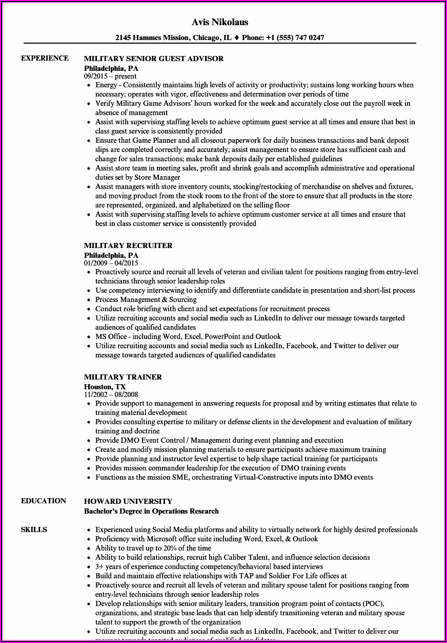 Military Job Descriptions For Resume