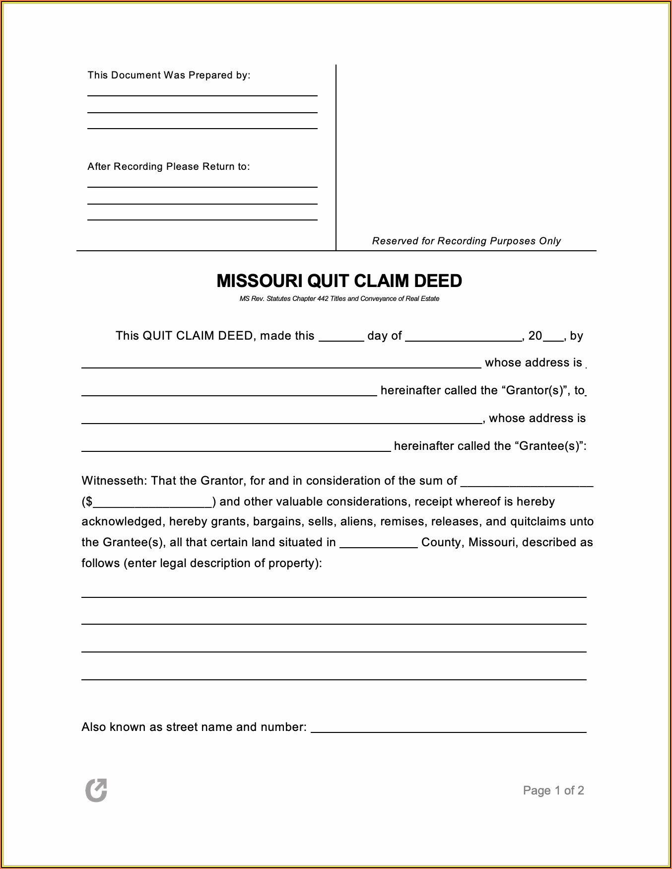 Missouri Quit Claim Deed Form Pdf