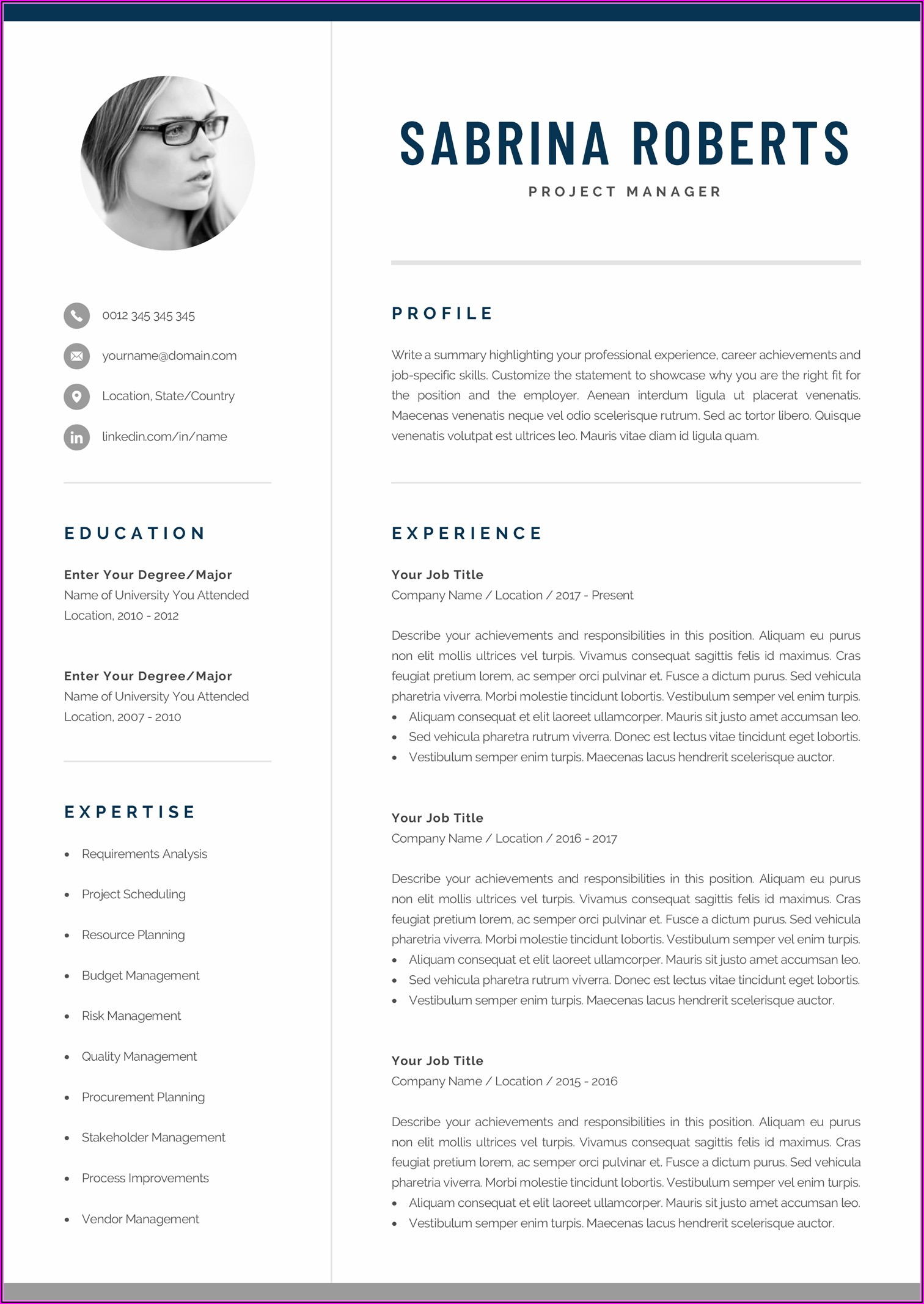Modern Professional Cv Template Word