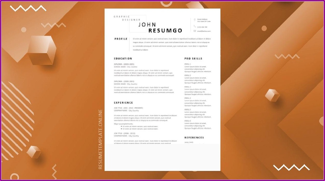 Modern Professional Resume Template Free