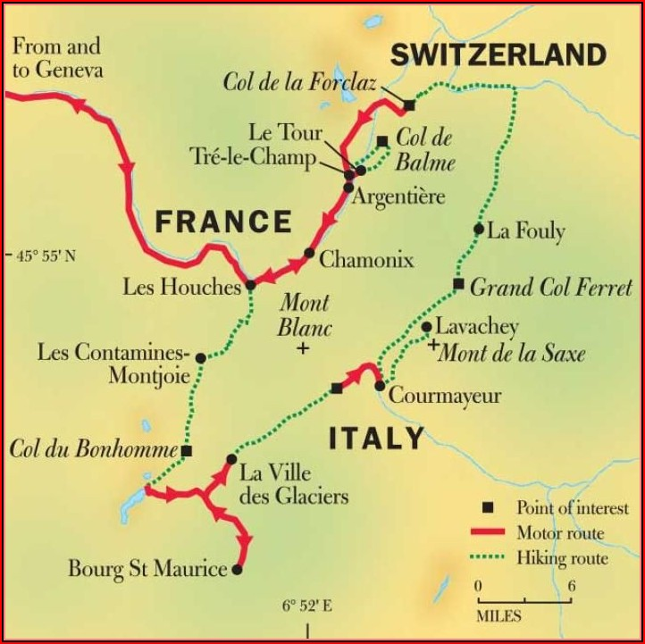 Mont Blanc Hiking Trail Map