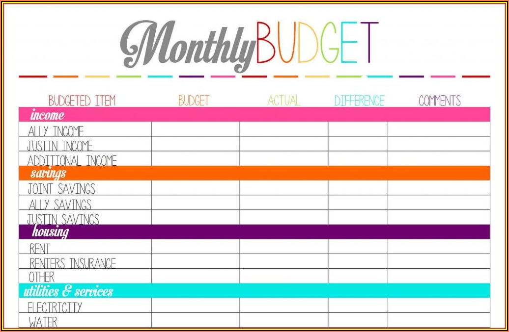 Monthly Budget Forms Free Printable