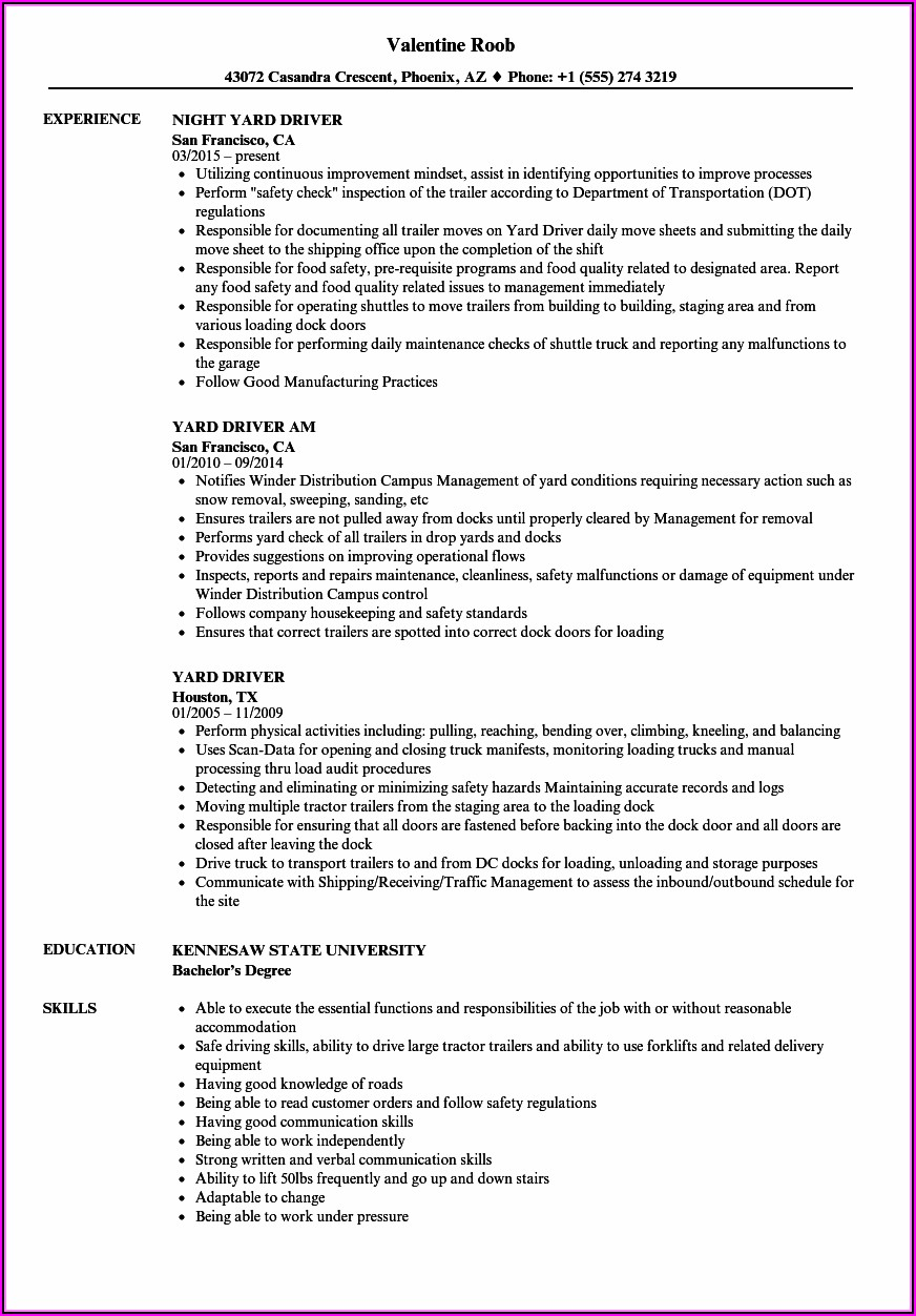 Moving Company Driver Resume