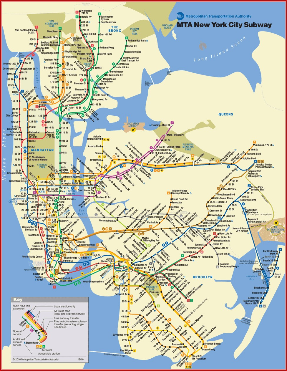 Mta New York City Subway Map Pdf