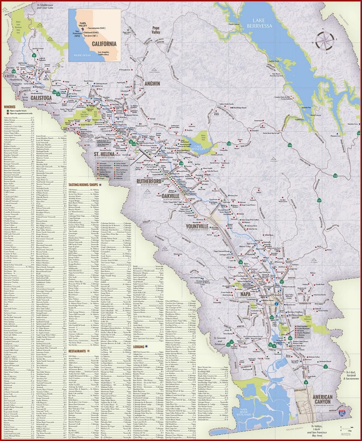 Napa Valley Hotels Map