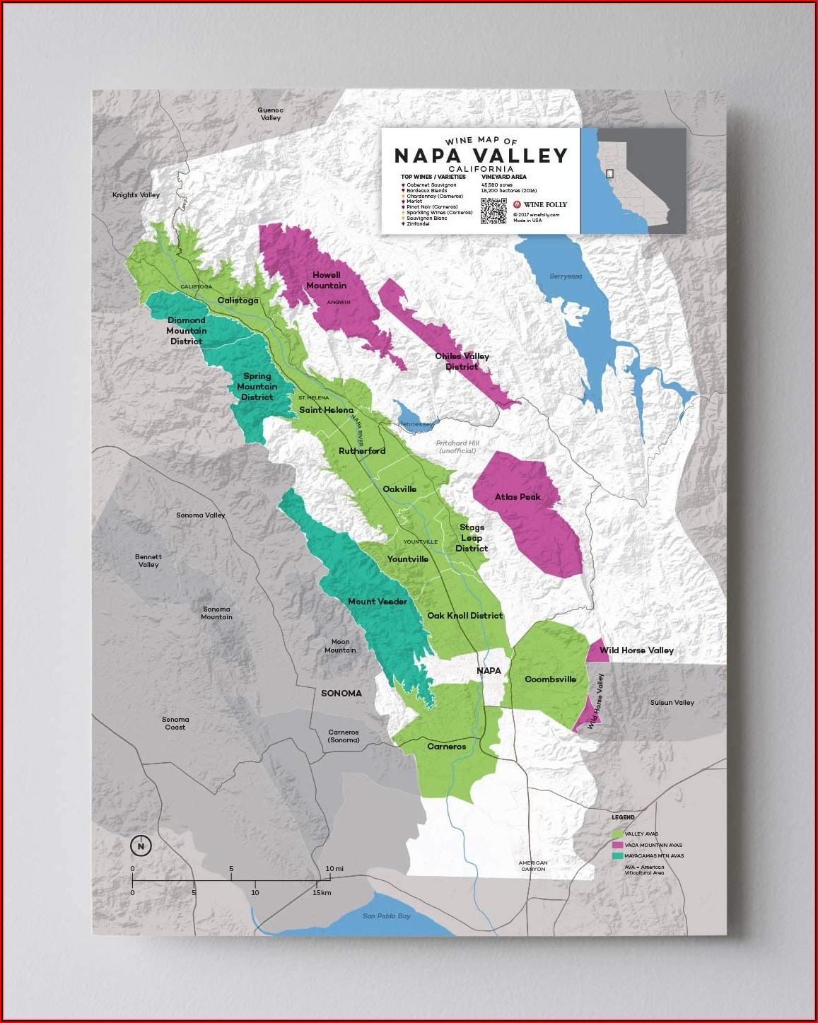 Napa Valley Wine Map California