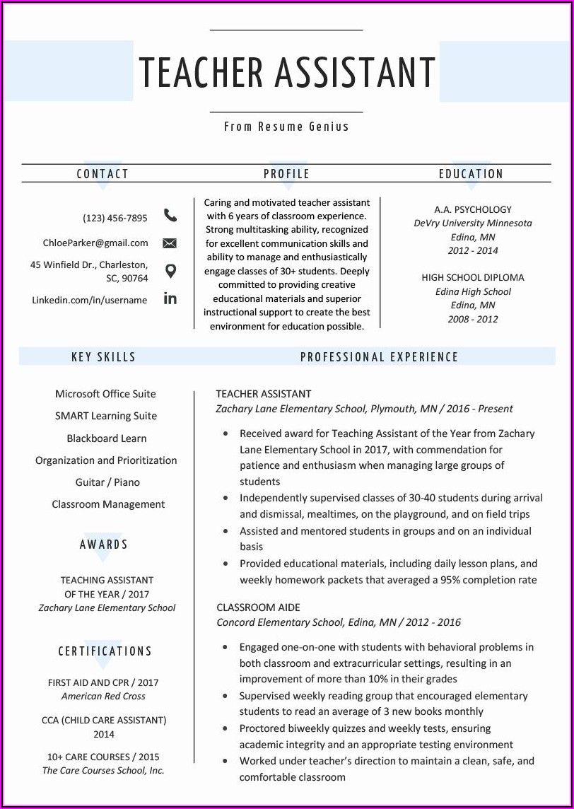 New Teacher Resume Template