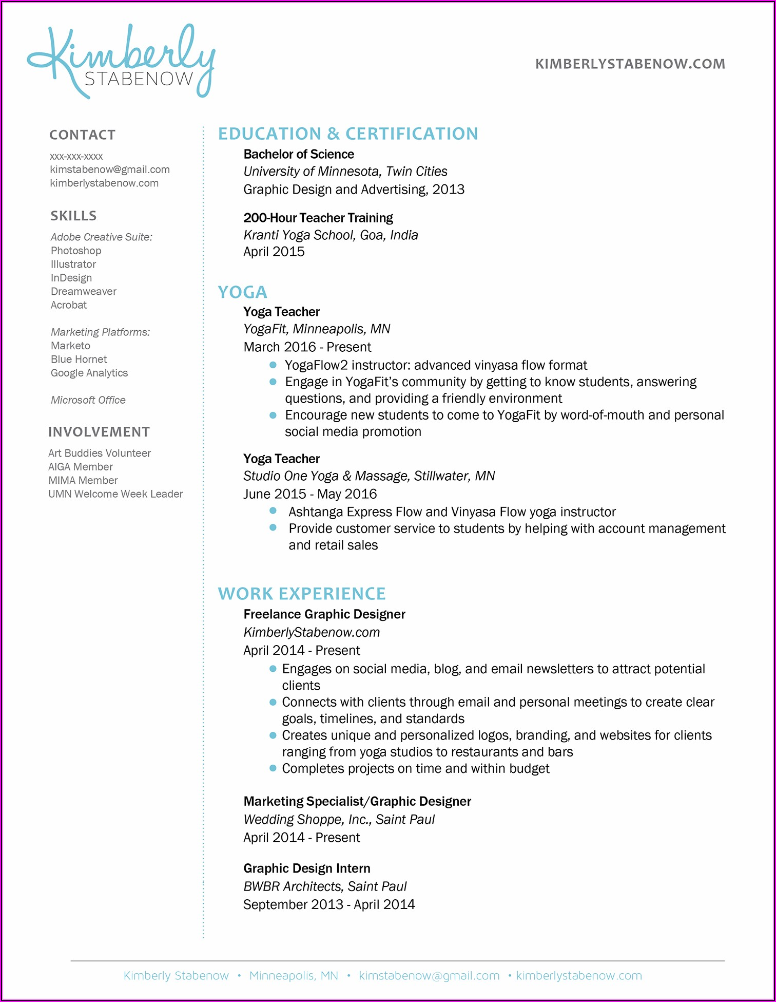 New Yoga Teacher Resume Template