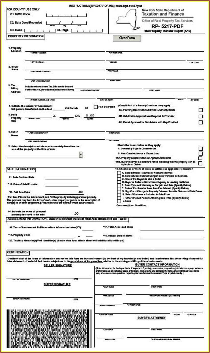 New York State Quit Claim Deed Form