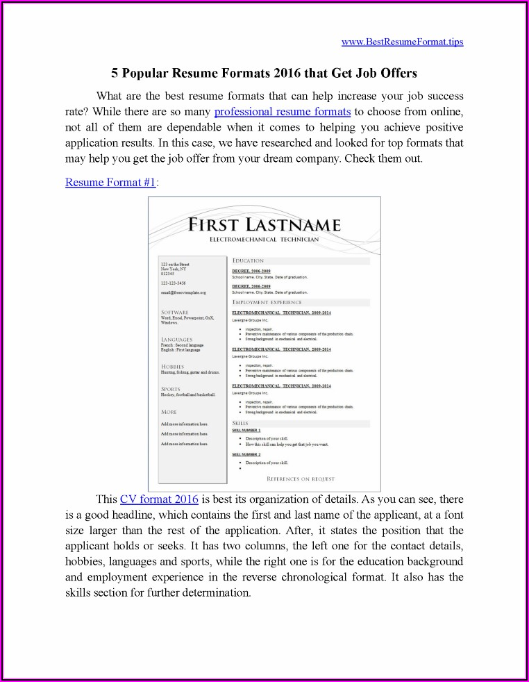 Normal Resume Format Download Pdf Free